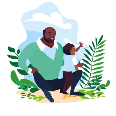 afro father with son in scene of nature
