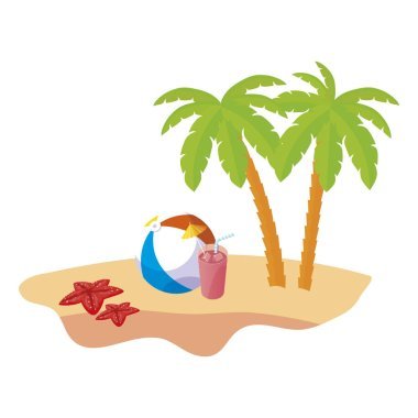 summer beach scene with tree palms and balloon toy