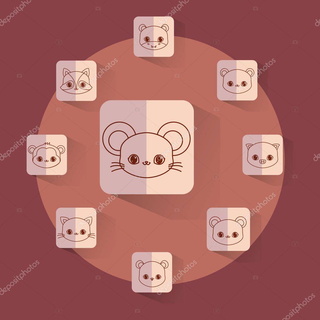 kawaii animals card icon vector ilustration