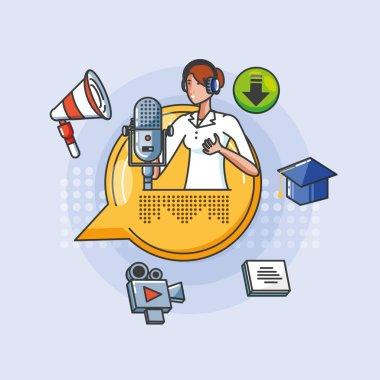 woman with icons of digital audio studio