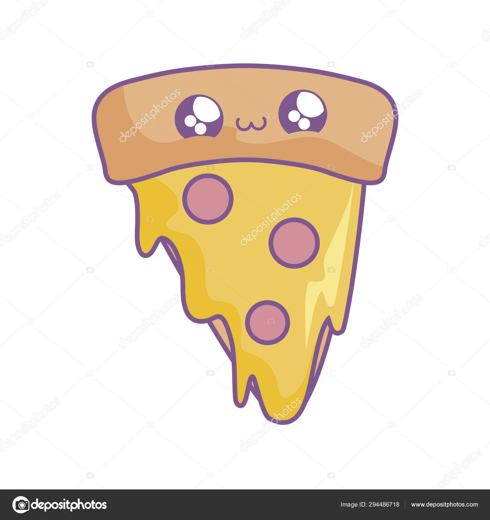 Slice Of Delicious Pizza Kawaii Style Stock Vector Djv