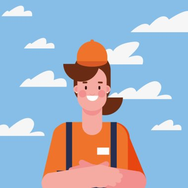 flat design people happy labor day