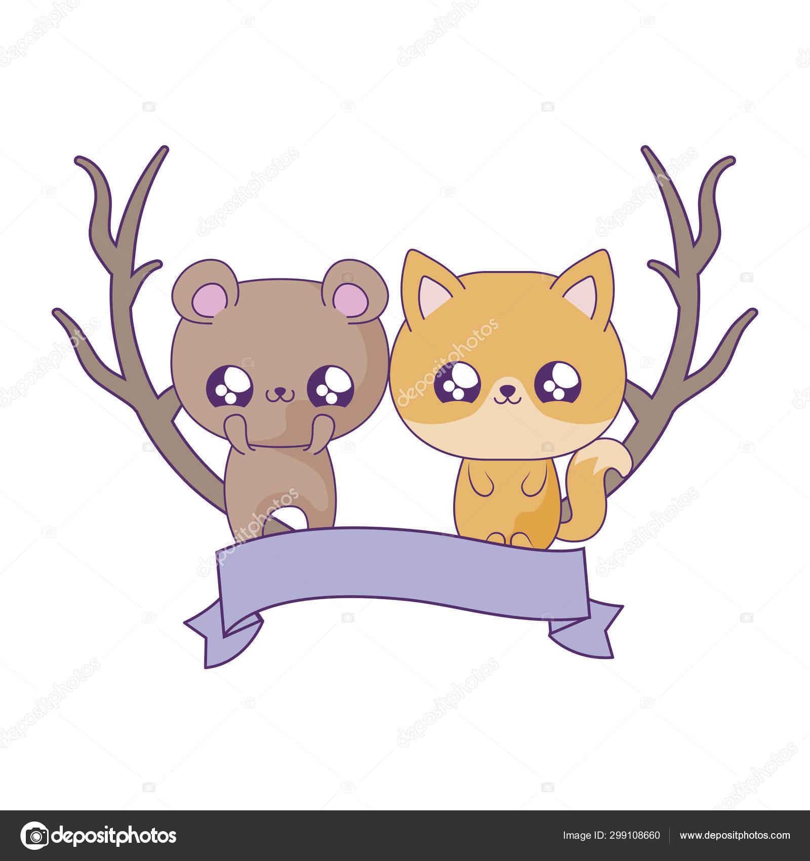 Cute Bear With Fox Baby Animals Kawaii Style Stock Vector C Djv 299108660