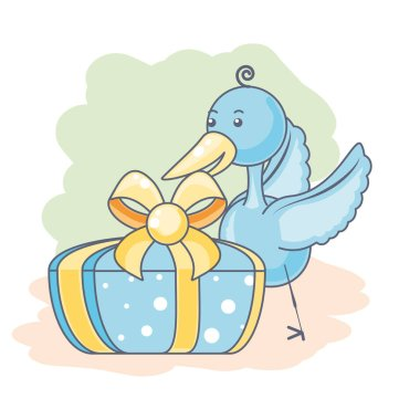cute stork animal with gift box present