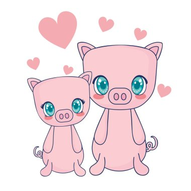 cute pigs couple characters vector illustration