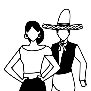 Isolated mexican couple vector design