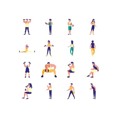 People doing sport icon set pack, High Quality variety symbols Vector illustration icon