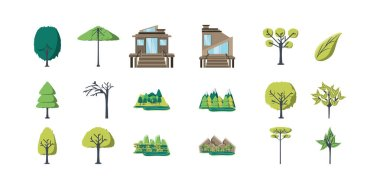 Trees and houses icon set pack, High Quality variety symbols Vector illustration icon