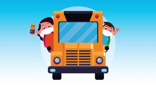 little students kids wearing medical masks in bus characters