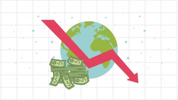 bankruptcy financial animation with arrow down and businessman in earth planet