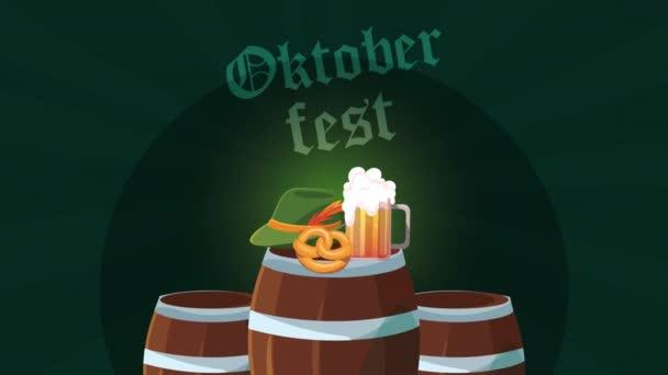 Oktoberfest Animation mit Bierfässern
