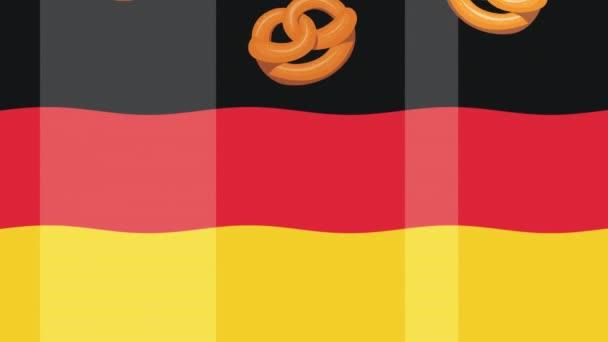oktoberfest celebration animation with pretzels and germany flag