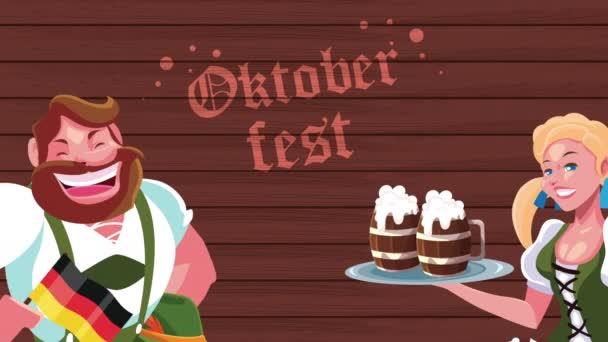 oktoberfest feier animation mit sexi deutsch mädchen servieren und mann betrunken
