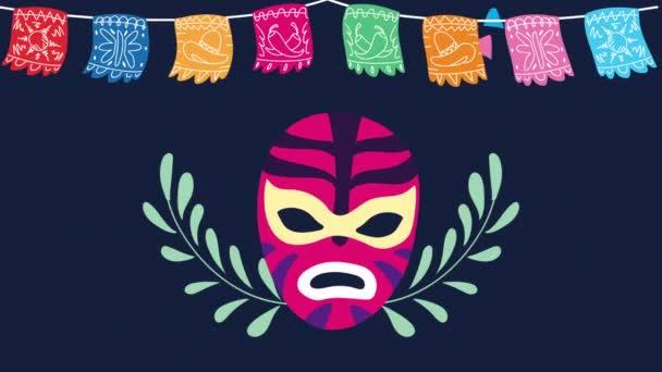 Mexikó ünneplés animáció Luchador maszk és koszorúk