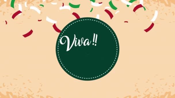 viva mexico ünneplés animáció betű és konfetti