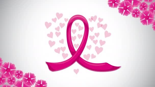 animace kampaně na rakovinu prsu s stuhou a květinami