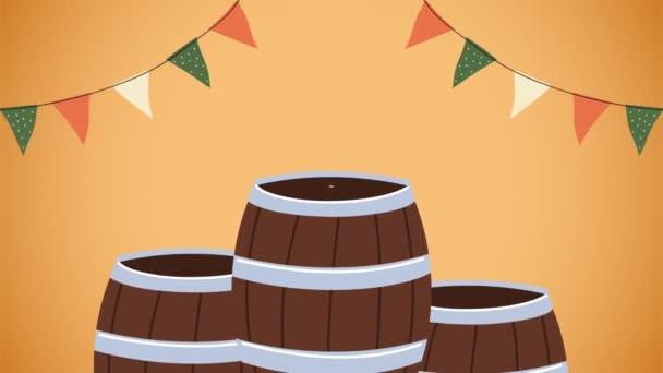 Oktoberfest-Animation mit Bier und Würstchen