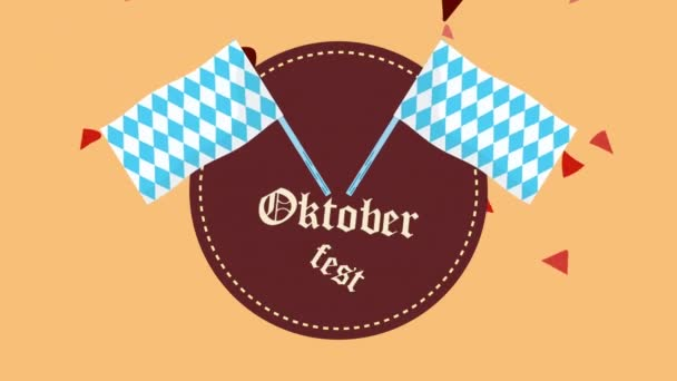 oktoberfest celebration lettering animation with checkered flags