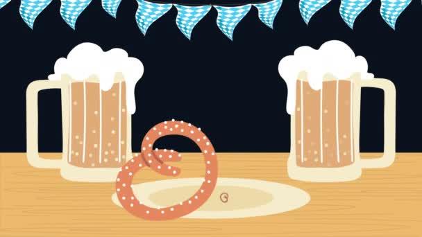 Oktoberfest-Animation mit Biergläsern und Brezeln