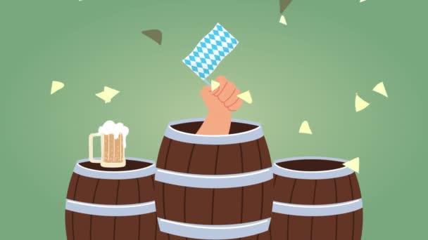Oktoberfest-Animation mit Bierfässern und Fahne