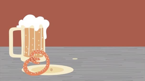 Oktoberfest-Animation mit Bierglas und Essen