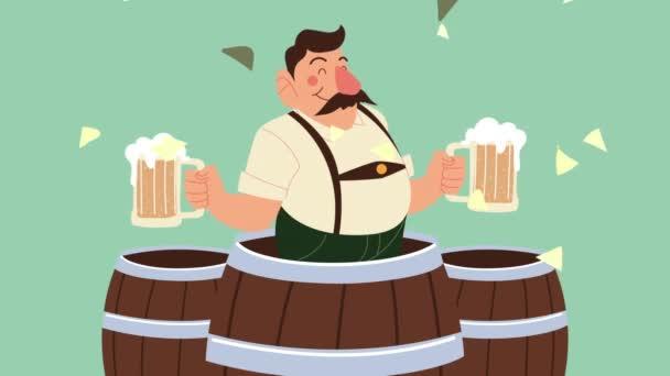 Oktoberfest-Animation mit deutschem Bier in Fässern