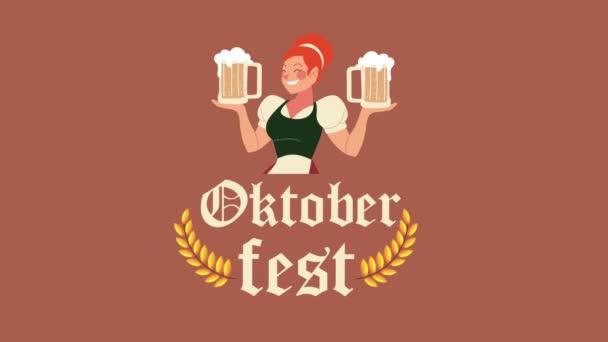 Oktoberfest Feier Schriftzug Animation mit sexi Mädchen und Bier