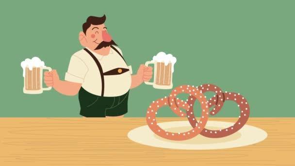 Oktoberfest-Animation mit deutschem Bier und Brezel