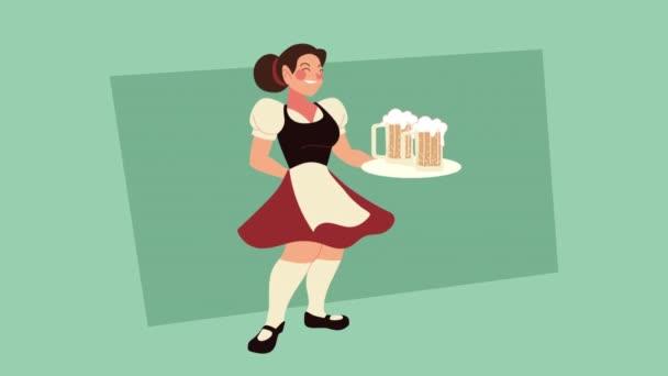 Oktoberfest-Animation mit sexy Frau beim Bieranheben