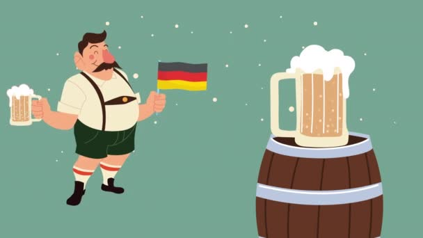 Oktoberfest-Animation mit betrunkenem Mann, der Bier trinkt und Deutschland-Fahne