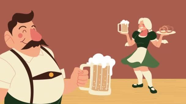 Oktoberfest-Animation mit deutschem Paar, das Bier und Brezeln anhebt