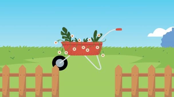 zahradní animace s květinami v traktoru a traktoru