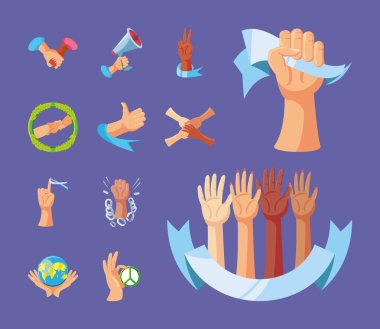 International human rights, pack icons peace unity support vector illustration detailed icon