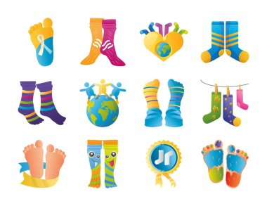 World down syndrome day, support awareness pack icons vector illustration icon