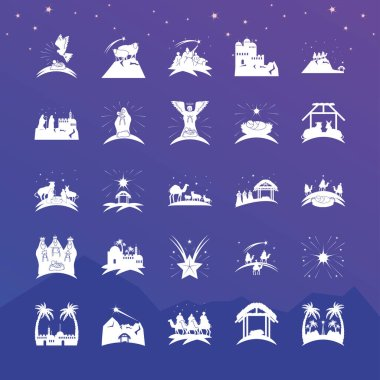 Nativity, pack of icons manger holy family wise animals on blue background vector illustration icon