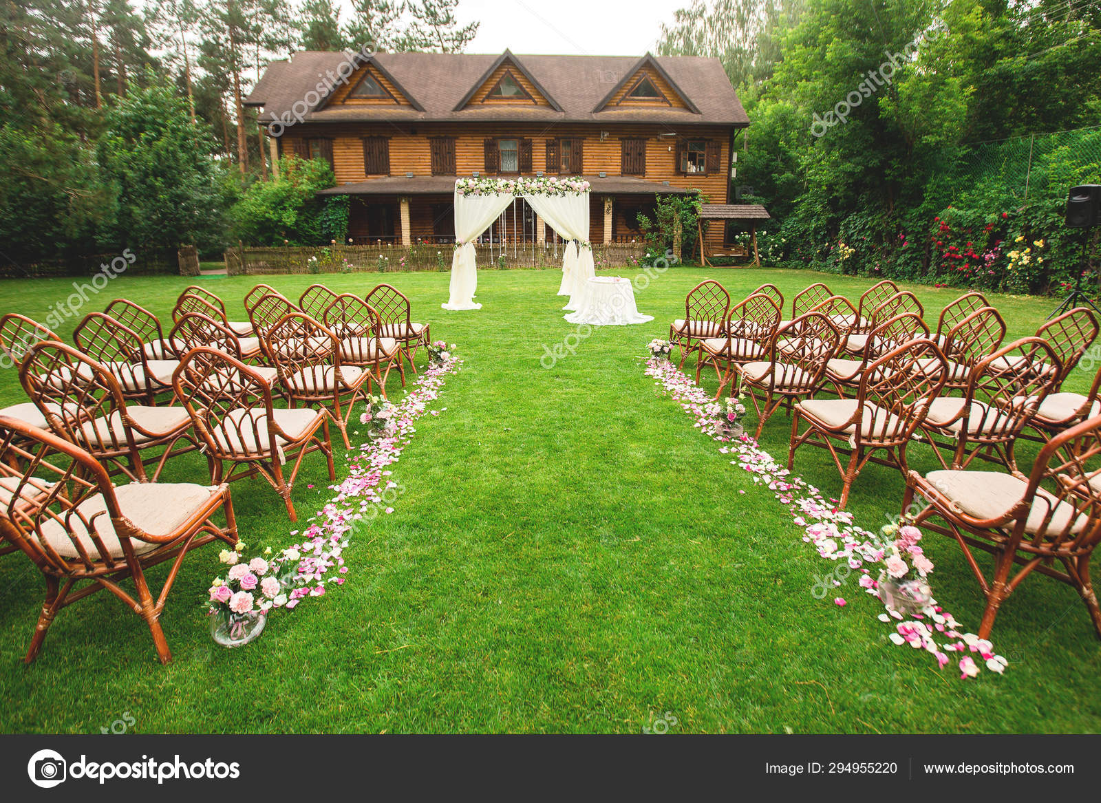 Outdoor Wedding Ceremony Decoration Setup Path With Petals Chairs Decorated With Colorful Ribbons White Arch Stock Photo Image By C Lesley2692 294955220
