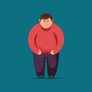 Angry Fat man. Vector flat illustration