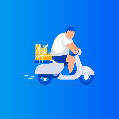 Gift delivery Man is riding a scooter.