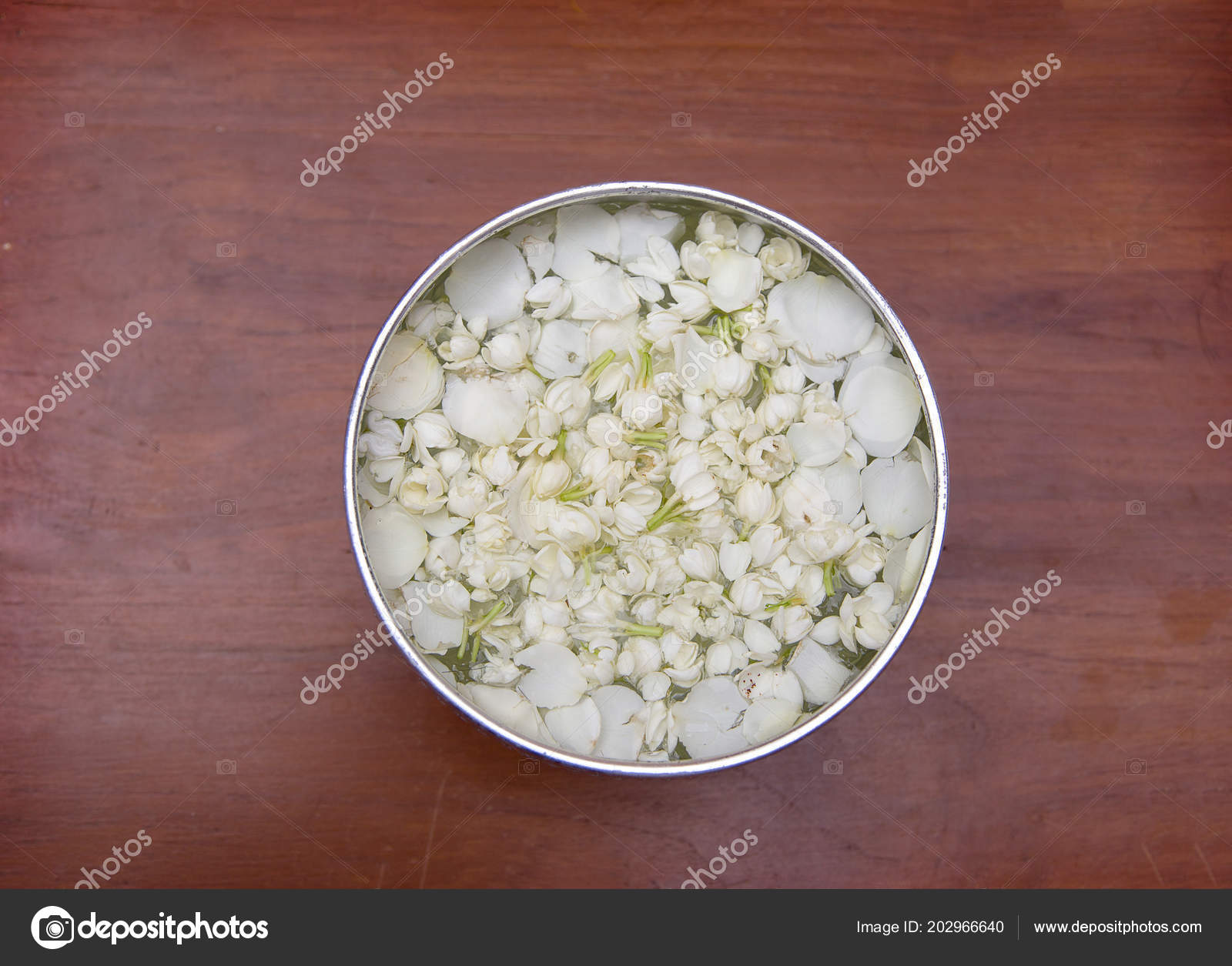 Aroma Water Jasmine Flower Silver Bolw Wood Table Background Top