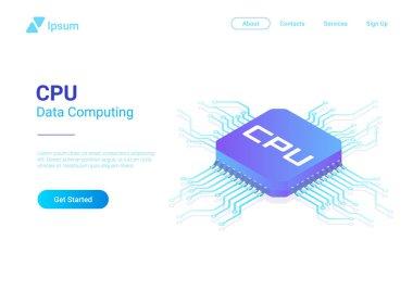 Isometric Flat CPU GPU Processor Chip vector illustration