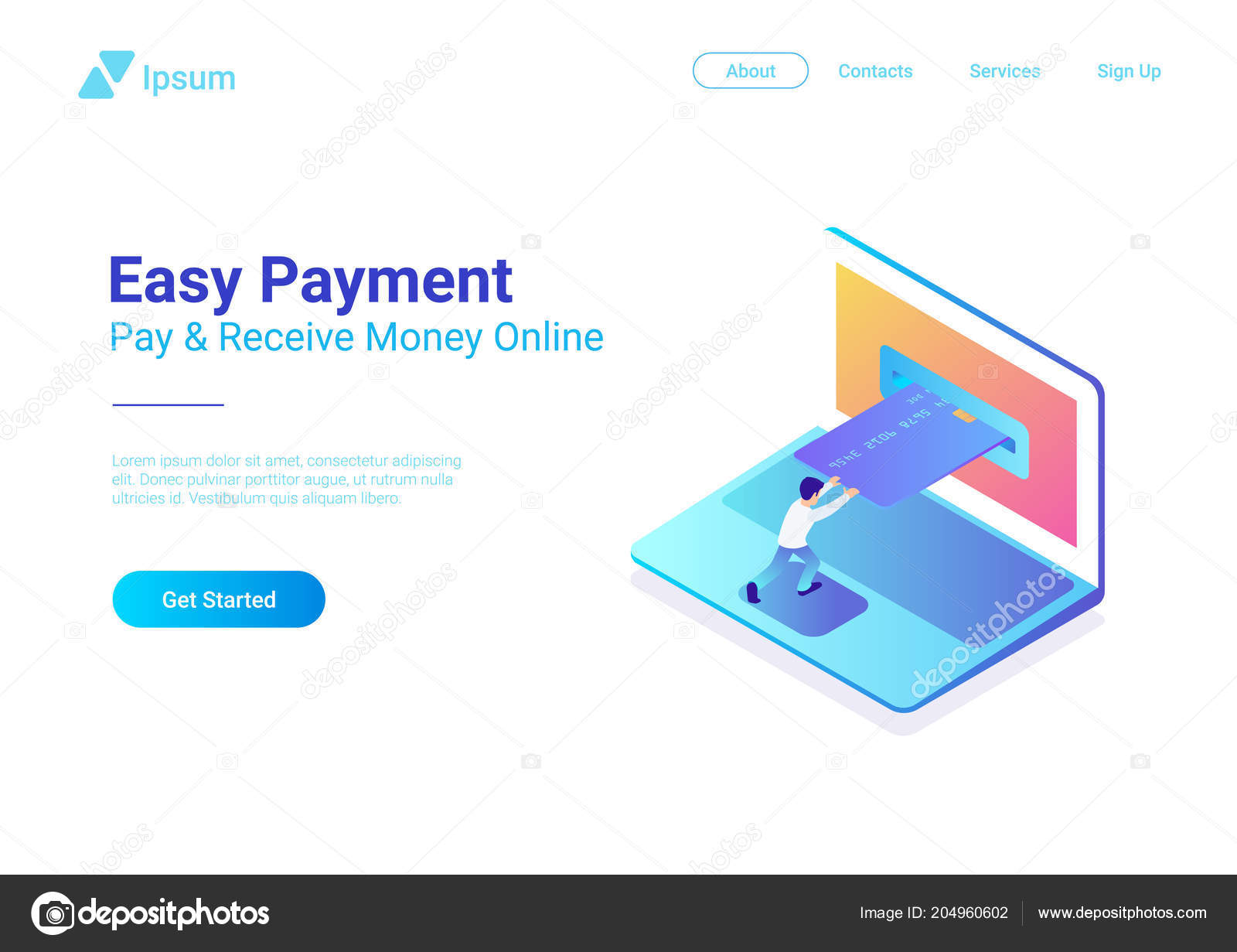 Online Payment Credit Card Laptop Isometric Flat Vector
