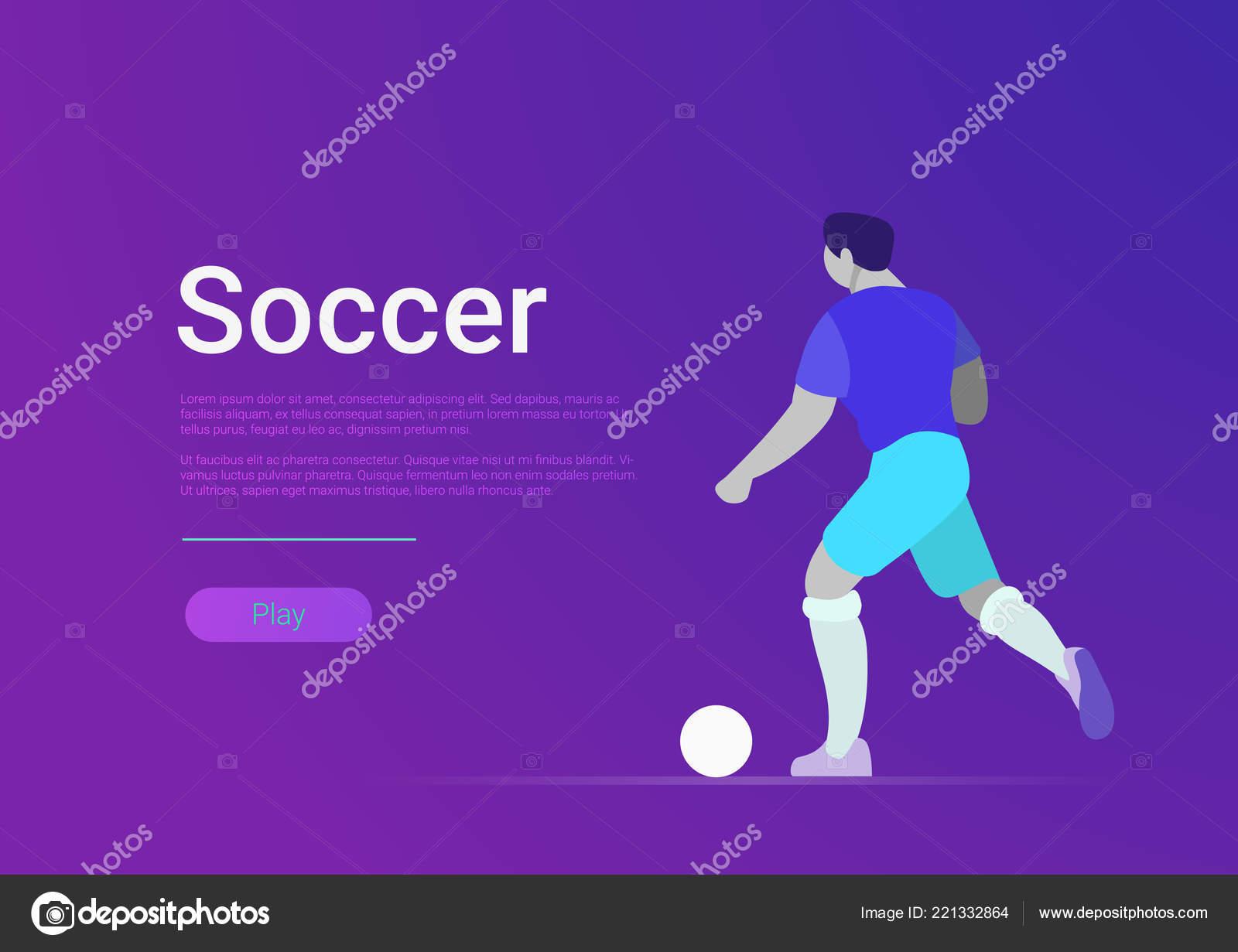 soccer sportsmen vector flat style web template banner football