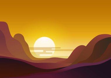 Sunset in desert - vector illustration natural flat background. Evening landscape with sun sets behind the mountains and yellow sky.