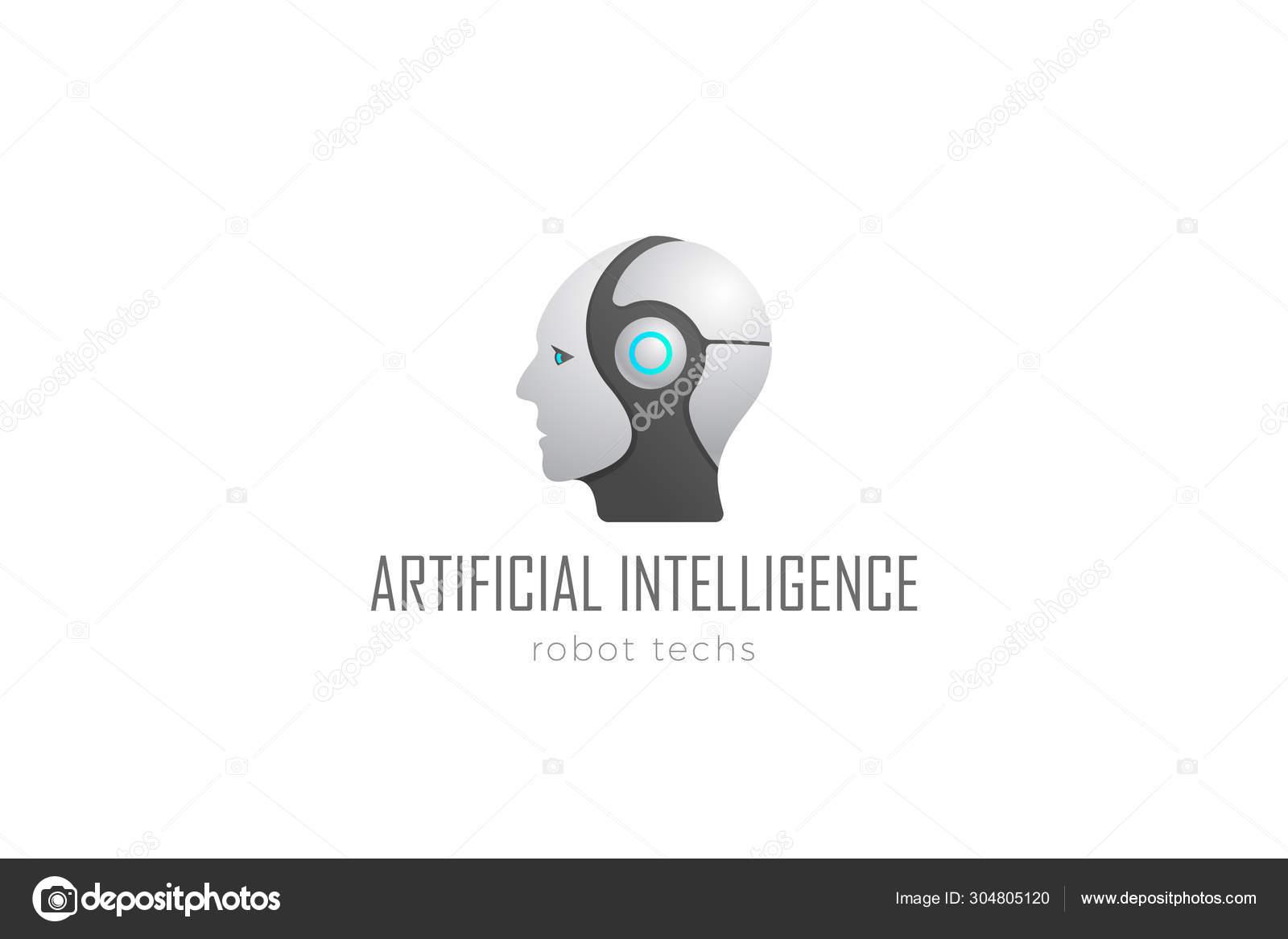 Robot Head Artificial Intelligence Logo design vector template ...