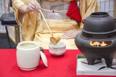 Traditional Japanese tea Ceremony Is Perfomed By Tea Master In Kimono