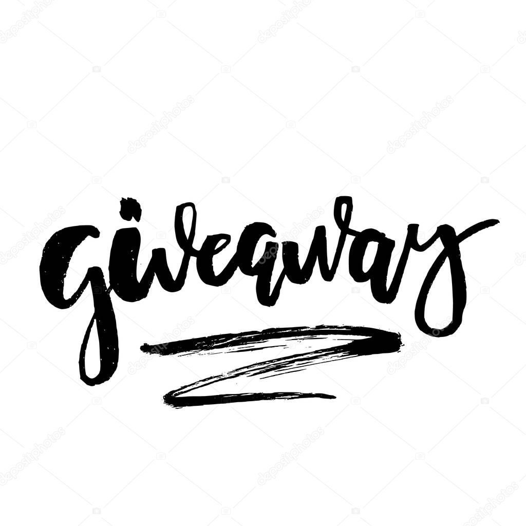 ✓ It's Giveaway Lettering text. Typography for promotion in social media  isolated on white background. Free gift raffle, win a freebies. Vector  advertising. premium vector in Adobe Illustrator ai ( .ai )