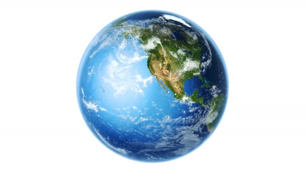 Realistic Earth Rotating on White (Loop). 4K 3D Render. Globe is centered in frame, with correct rotation in seamless loop. Texture map courtesy of NASA.