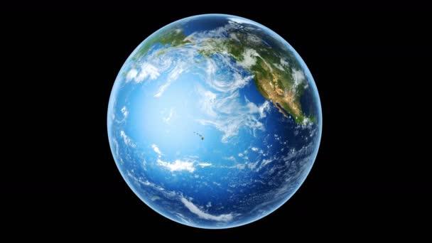 Realistická země otáčení na černém (smyčka). 4k prostorové vykreslení. Zeměkoule je zarovnána na střed rámu, se správným otočením v bezešvé smyčce. Mapa textury z NASA.