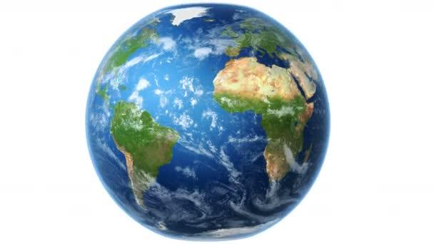 4k realistická Světová mapa zalomí do otáčející se zeměkoule (bílá BG). Světová mapa se točí kolem otáčejícího se glóbu. Země je uprostřed rámu. Druhá část klipu (s rotací) může být smyčka. Mapa textury z NASA.