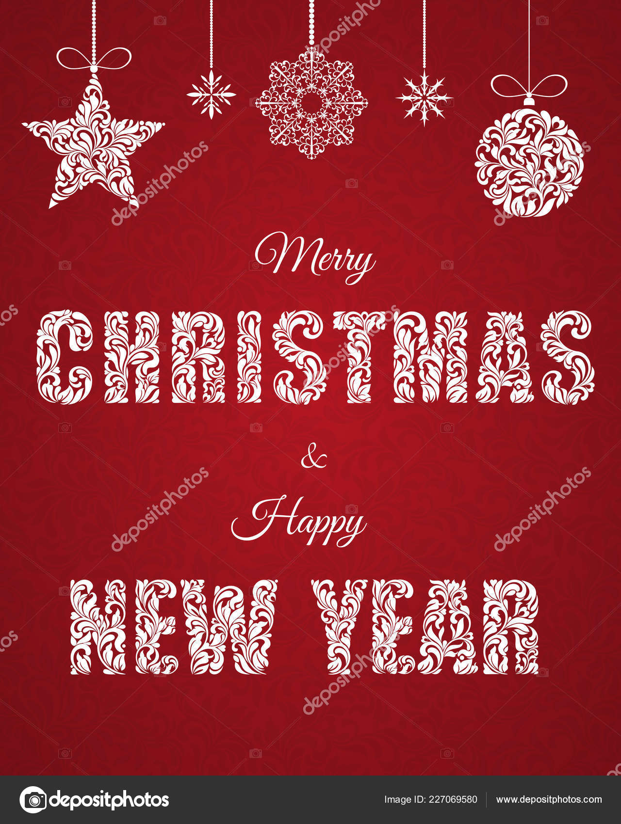 Merry Christmas Happy New Year Lettering Inscription Decorative Font ...